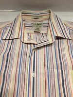 Men's LL Bean Dress Shirt Long Sleeve Button Up Wrinkle Free 100% Cotton Size S