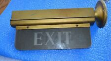 "Antique Metal & Heavy Glass Panel Exit sign 13 1/2"" Long"