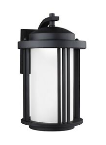 Sea Gull Crowell 8747991S-12 Medium Led Outdoor Wall Lantern Black/Etched Glass