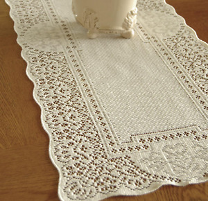 """Heritage Lace ECRU CANTERBURY 14""""x72"""" Table Runner - Made in USA!"""