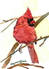 ACEO Limited Edition -Cardinal on a branch,Art print of watercolor, Gift for her