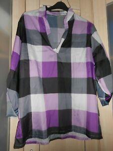 """BNWOT Black/purple/white check shirt size 5x b48"""""""