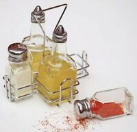 Boxed Cruet Set Condiment Set and Stand Salt Pepper Vinegar Oil Set 4 Piece