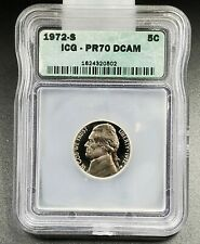 1972 S Jefferson Nickel Coin Vintage ICG PR70 DCAM Deep Cameo Gem Cameo Proof