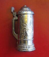 Vintage Lidded Beer Stein Heavy Silver Metal Overlay on Glass Avon