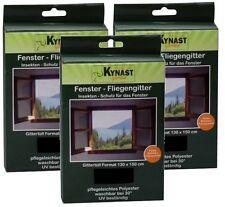 3x Fenster-Fliegengitter Fliegennetz Insektenschutz 130x150cm inkl. Klettband