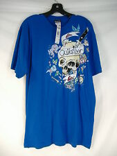 New Mens Large L QUIKSILVER Maloney's Law Blue Skull Surf Skate T Shirt $24