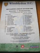 29/12/2001 Colour Teamsheet: Wimbledon v Preston North End (Folded, Writing On B