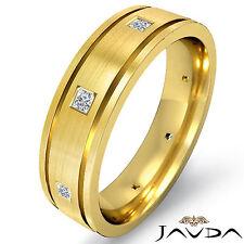 Princess Diamond Eternity Wedding Band Men Flat Edge Ring 14k Yellow Gold 0.17Ct
