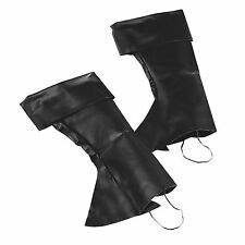 Mens Black Boot Top Covers Tudor Medieval Peter Pan Pirate Fancy Dress Costume