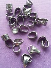 15 x Silver Stainless Steel Strong Pinch Bail 10mm x 6mm