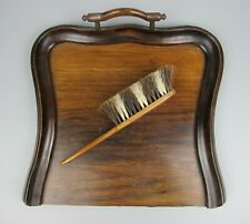Decorative antique VTG wood Dustpan & Brush. Table Crumb Sweeping or Floor.