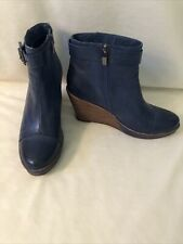 Antelope Leather Wedge Ankle Boots Buckle and Side Zip Blue 39  9 US Excellent