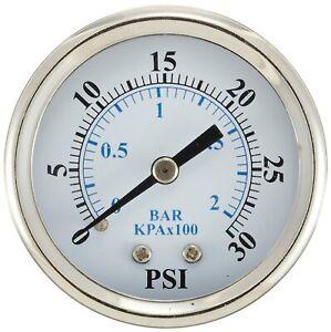 """Dry Vacuum Gauge 2.5"""" Dial 30""""/0 hg Vacuum psi Range 1/4"""" NPT Size Thread Center"""