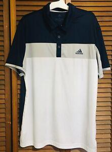 Adidas Men's Short Sleeve Golf Jersey Polo Shirt Size Large White Gray Blue