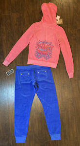NEW! Juicy Couture RARE USA Terry Royalty TOP Velour Tracksuit Slim JOGGER M