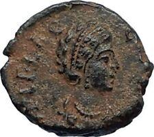 Aelia flacilla Teodosio I esposa 383AD antigua moneda romana victoria Chi-rho i67687