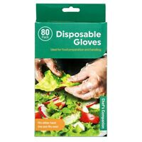 80 Pack Gloves Disposable Plastic Comfortable Clear Kitchen Large Food Bulk Lot