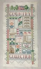 VTG Finished Country Cross Stitch Sampler Cat Tea Rabbit Flower Bless This Home