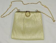 Vintage 50's 60's HARRY LEVINE HL USA Gold Metallic Fabric Evening Bag Purse