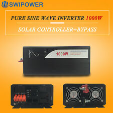 PWM solar charger controller pure sine wave inverter 1KW 24v to 230v with bypass