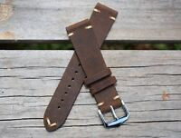 20mm Genuine Leather Watch Band Strap Handmade Brown fits ALL BRANDS Rolex Tudor