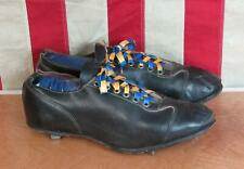 Vintage 1950s Black Leather Baseball Cleats Athletic Shoes Sz.10 Great Condition