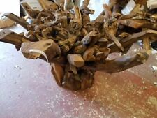 AWESOME RECLAIMED SOLID TEAK ROOT DINING TABLE Safety GLASS 120CM DIAMETER