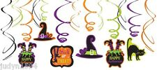 HALLOWEEN WITCH SWIRLS WITCH'S CAULDRON HAT BLACK CAT PARTY HANGING DECORATIONS