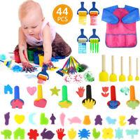 44x Kids Painting Brush Apron Sponge Paint Brushes Tool Toy Set Children Toddler