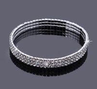 Silver Or Gold Crystal Rhinestone Stretch Anklet Ankle Bracelet Wedding 35-2