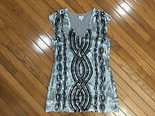 Vintage Tracy Reese Silver / Black V Neck Sleeveless Sequined Dress Size M