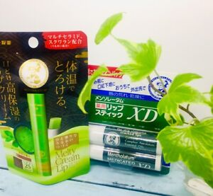ROHTO Mentholatum MEDICATED LIP STICK 4g×2 pack & Macha Melty Cream Lip Balm New