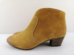 CLARKS Softwear Mustard Leather Women Ankle High Heel Shoe Boot Size 4 37 D