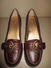 "Nine West Brown Leather Loafers w/Buckle 1.25 "" Heel NWOT 8.5M NICE DETAILS"