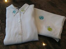 NWT  MERCER & MADISON 2PC  EMBROIDERED LINEN Short Sleeve Top & Pants Size 20w