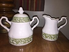 J & G Meakin English Ironstone Sterling Colonial Cream & Sugar Set England