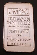 Johnson Matthey 1 oz 999 Fine Silver Bar