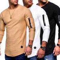 1d32fa9757a4 Behype Herren 2in1 Oversize Longline T-Shirt Pullover Sweatshirt Longsleeve  NEU