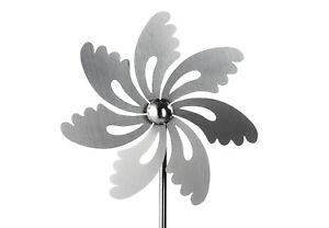 Windrad Gartenstecker SILVER aus Edelstahl 100 cm