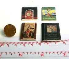 1805# Kleines Deko-Bücherset mit 4 Büchern - Puppenhaus - Puppenstube - M 1zu12