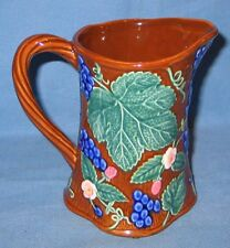 "1994 FITZ & FLOYD 26 oz Majolica Pitcher ""Feuille de Raisin"""