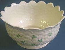 "Belleek Kylemore Shamrock Bowl 9"" Parian China Ireland Mint"