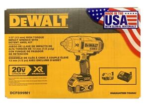 "DeWALT 1/2"" High Torque Impact Wrench 13mm w/ Detent Anvit + Bag Kit DCF899M1"