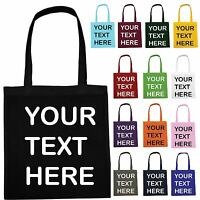 PERSONALISED COLOUR TOTE BAG CUSTOM TEXT LOGO HEN PARTY - Not Cotton Canvas LOT
