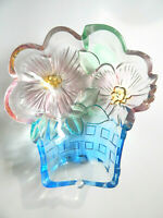 Vintage Blue Basket Colored Glass Bowl Candy Dish with Pink Flowers