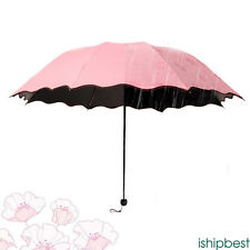 Creative Anti-UV Sun Rain Folding Umbrella Encounter Water Show Flower Parasol