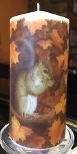 SQUIRREL HAND DECORATED PILLAR CANDLE 36HRS 13X6M
