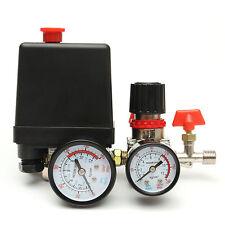 125PSI Air Compressor Pressure Valve Switch Control Manifold Regulator Gaug