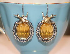 Vintage Yellow melon glass swallow charm Victorian silver artisan earrings